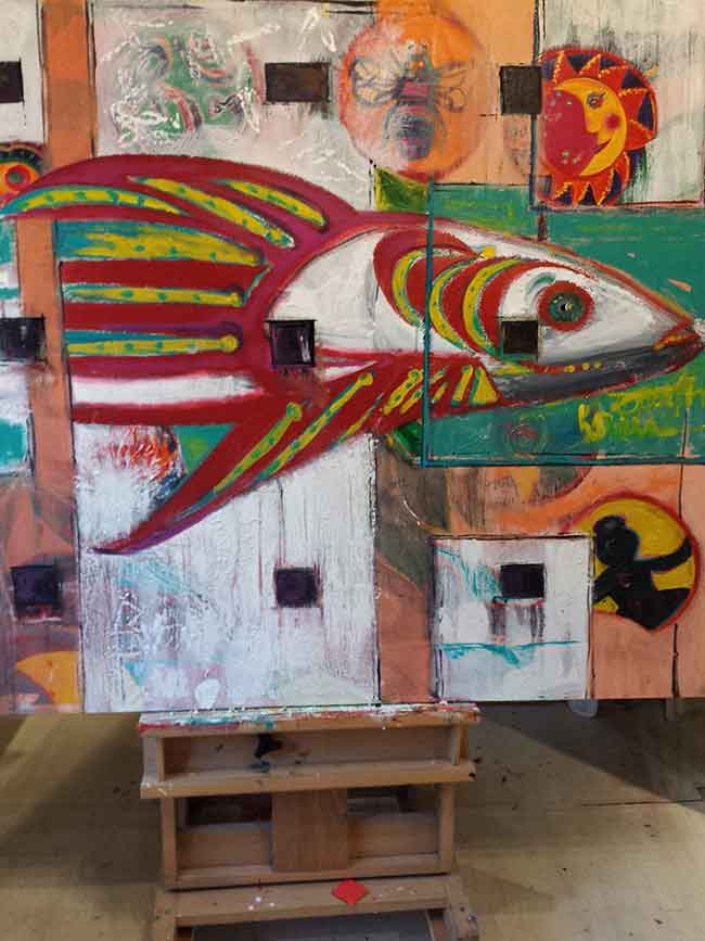 Fish painting in studio