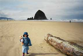 Veronica age 2 on Cannon Beach Oregon @ Haystack Rock