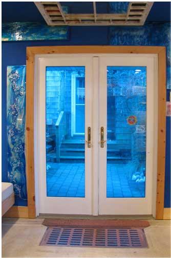 blue doors in studio